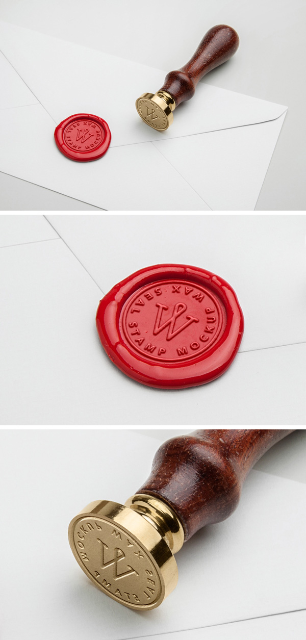 Wax Seal Stamp PSD MockUp  GraphicBurger
