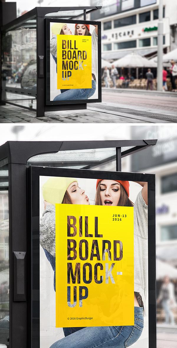 Bus Stop Billboard MockUp GraphicBurger