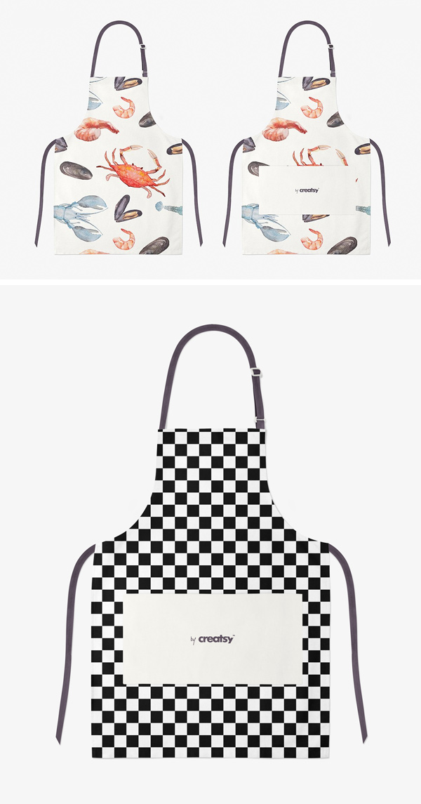 mockup of two greenhouse workers wearing aprons. Apron Mockup Psd Graphicburger