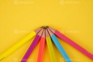 Bundle of pencils stacked stock photo