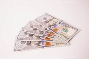 Selective Focus Dollar Bills Stock Photo