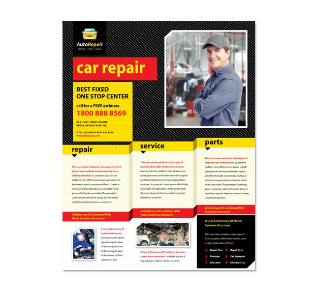 Auto Repair Services Flyer Template DLayouts Graphic