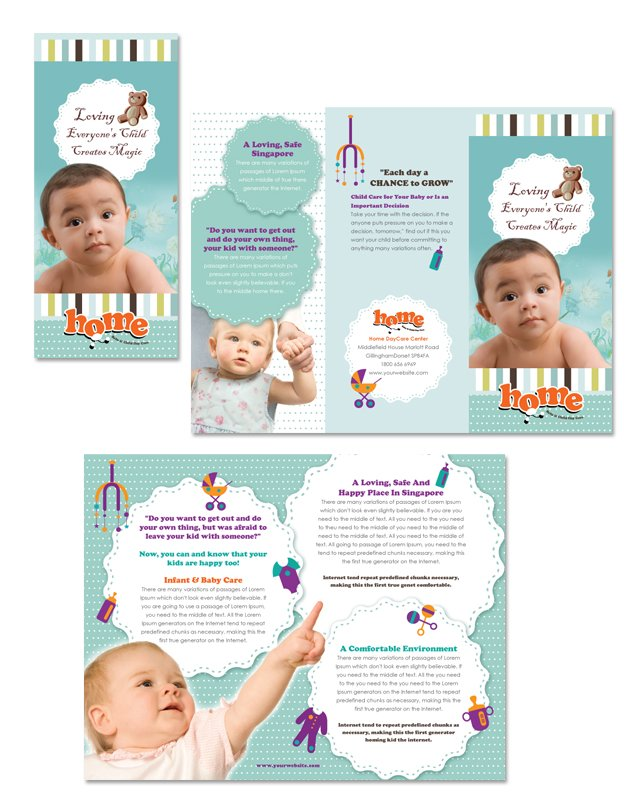 Baby Toddler & Child Day Care Tri Fold Brochure Template
