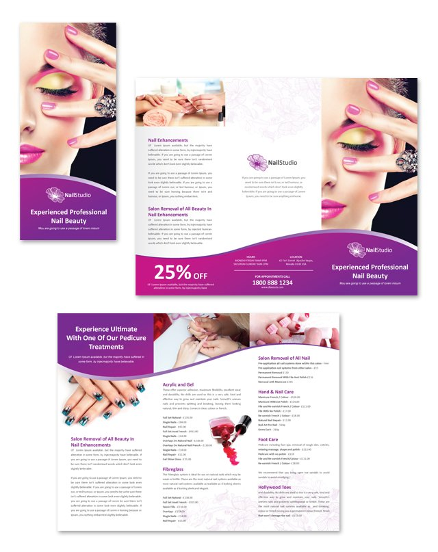 Nail Beauty Salon Tri Fold Brochure Template DLayouts