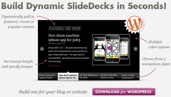 Post image of RSS Smart SlideDecks, Vertical Slides, Skin  Support WordPress Plugin