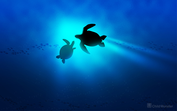 Wallpaper: Mom And Baby Turtle