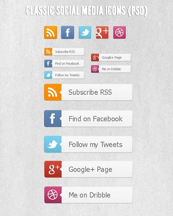 Classic Social Media Icons PSD
