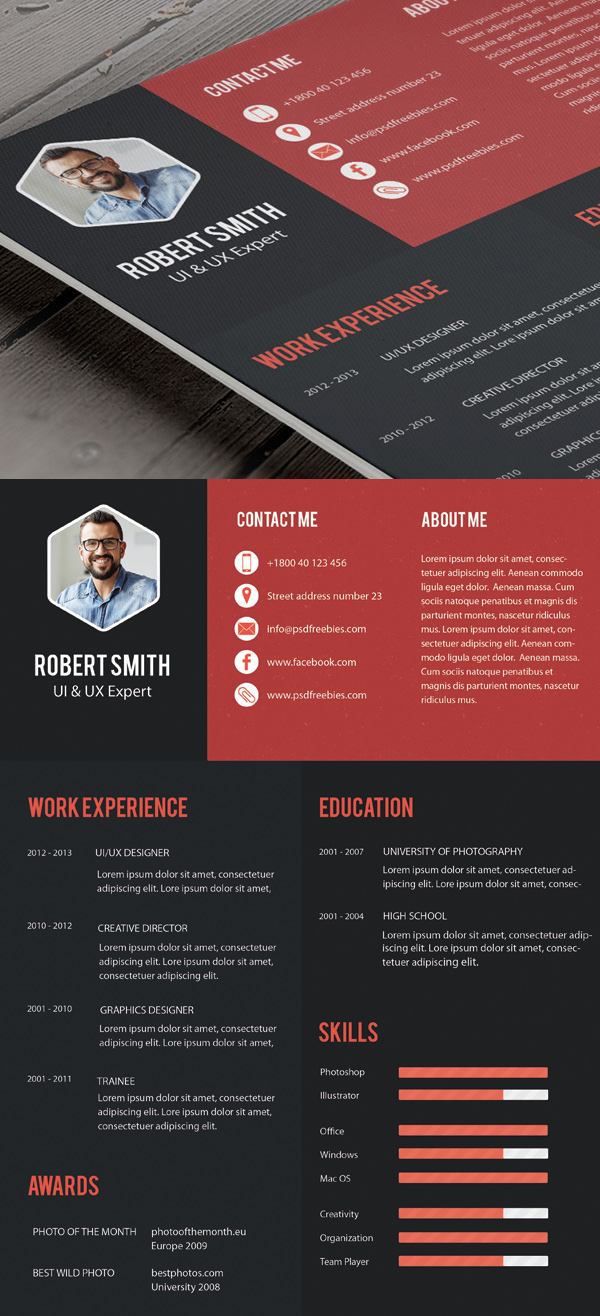 Free Professional CVResume and Cover Letter PSD Templates  Freebies  Graphic Design Junction
