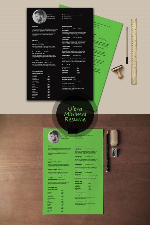 minimal photoshop resume template