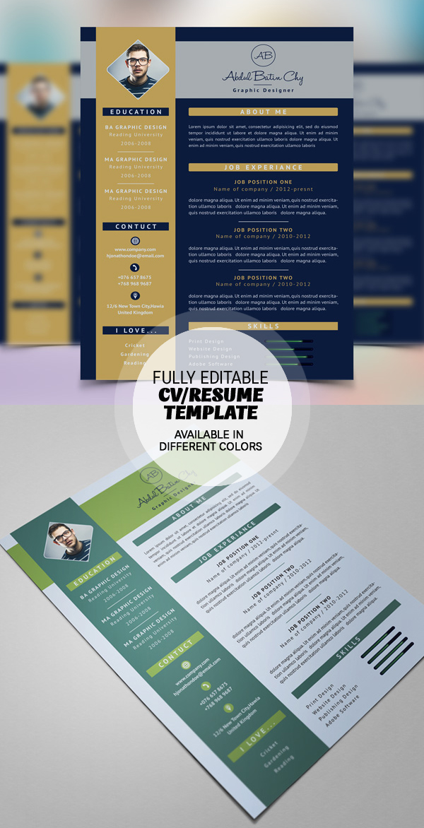 17 Free Clean Modern CV  Resume Templates PSD  Freebies  Graphic Design Junction