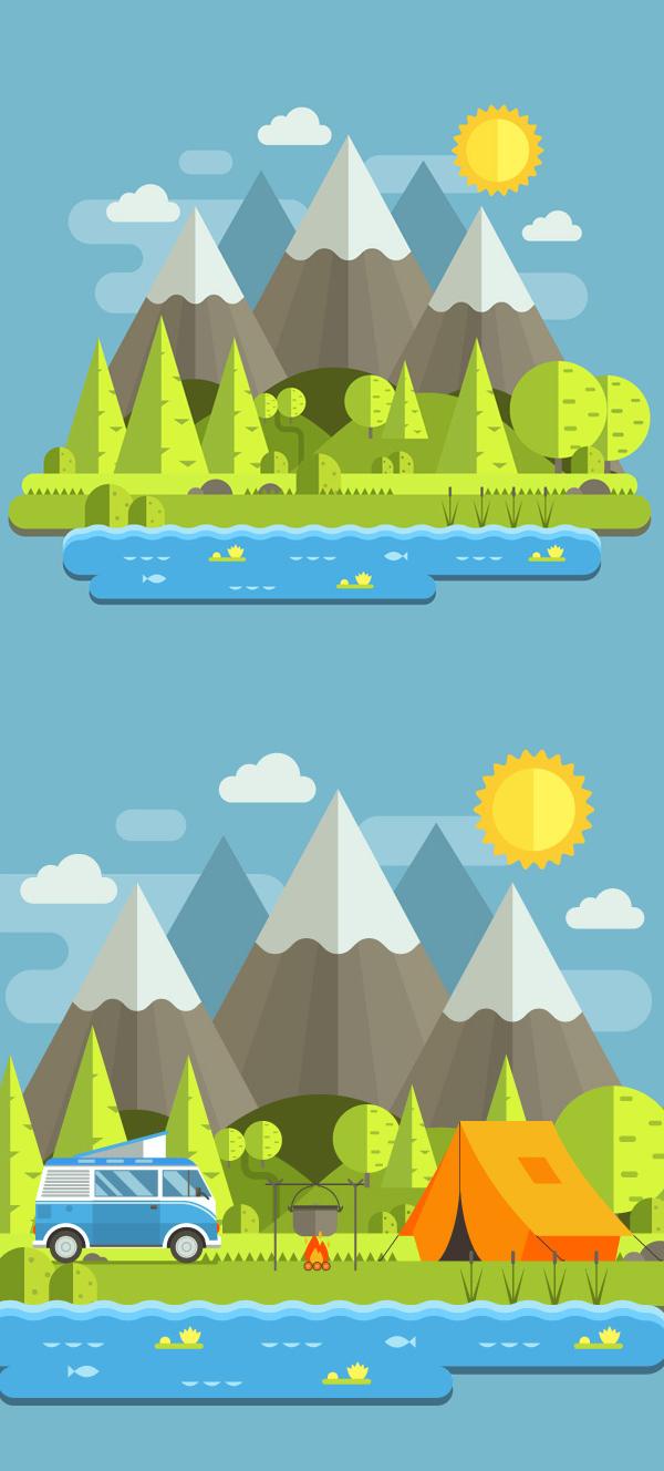 Cómo crear un paisaje de montaña en estilo plano en Adobe Illustrator
