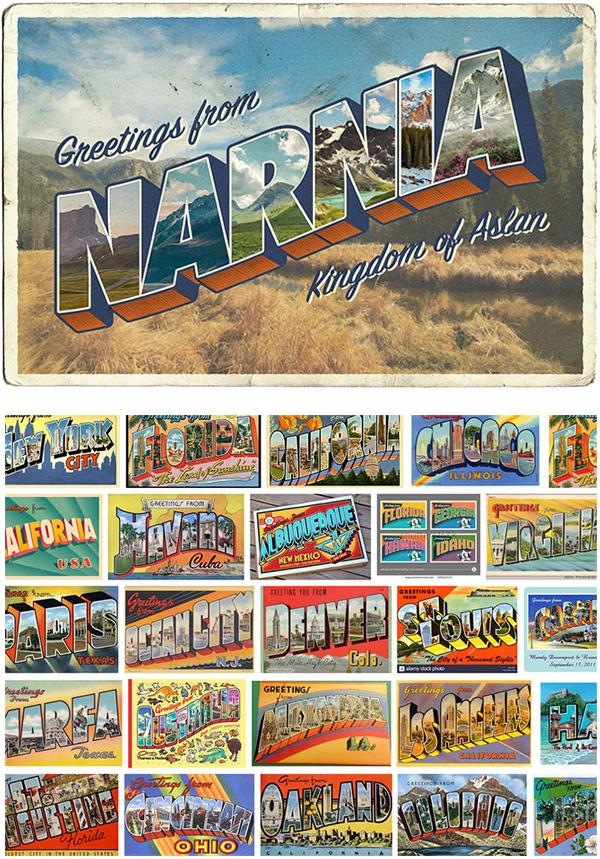Cómo crear un diseño de la postal de la letra grande del estilo del vintage