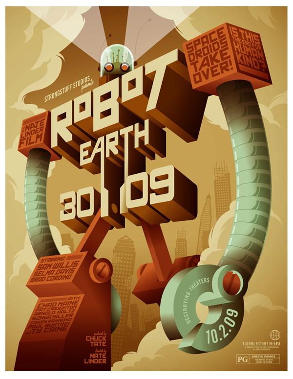Cómo hacer de la Tierra del robot 3009 Ilustración tipográfica