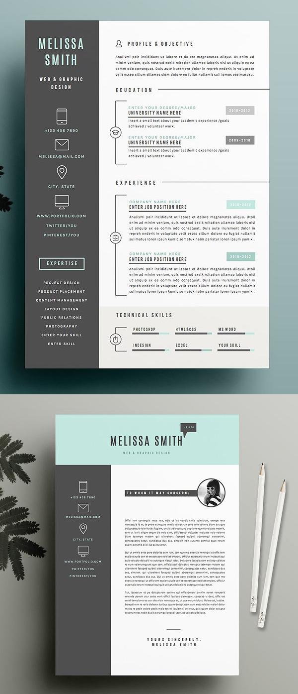 New Simple Clean CV Resume Templates Design Graphic