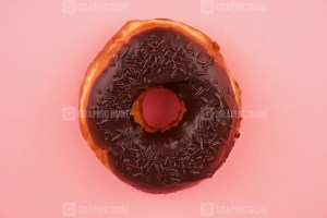 Top view of tasty homemade chocolate donut