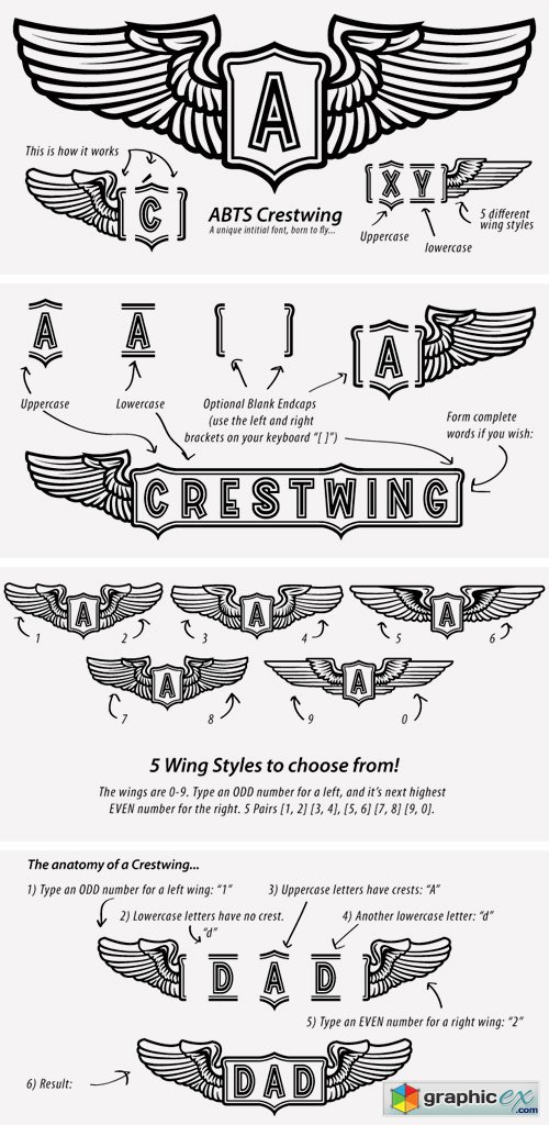ABTS Crestwing Font » Free Download Vector Stock Image
