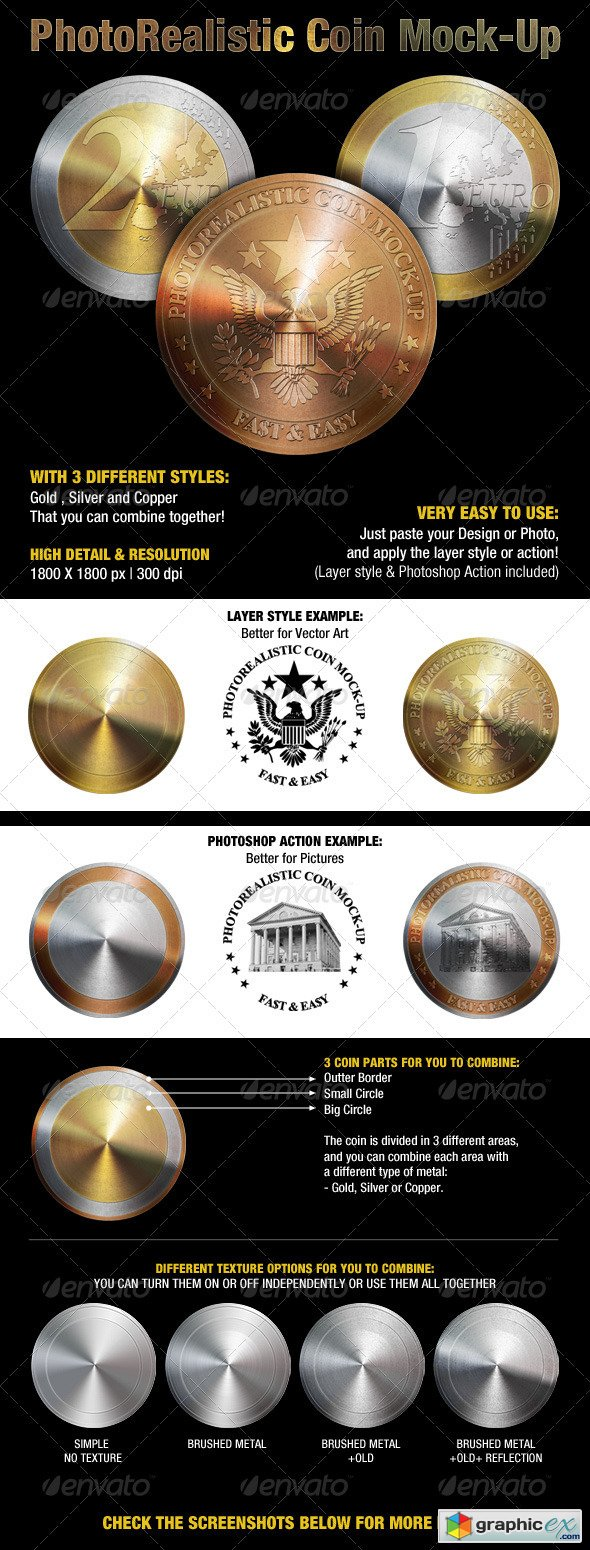 Anyone ever made a home made coin tumbler? Photorealistic Coin Mock Up Free Download Vector Stock Image Photoshop Icon