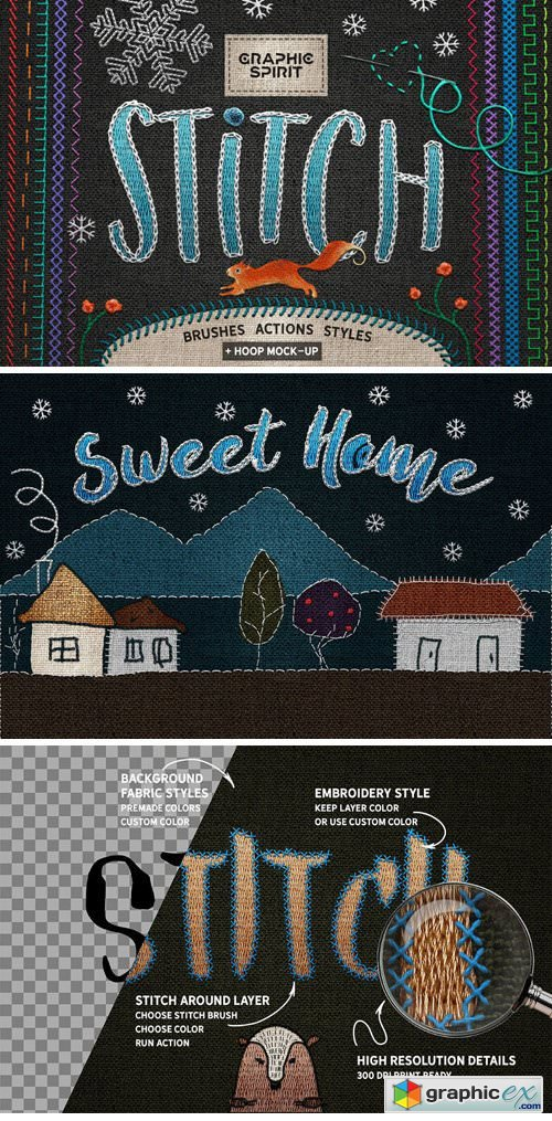 Stitch Photoshop Styles  Brushes  Free Download Vector Stock Image Photoshop Icon