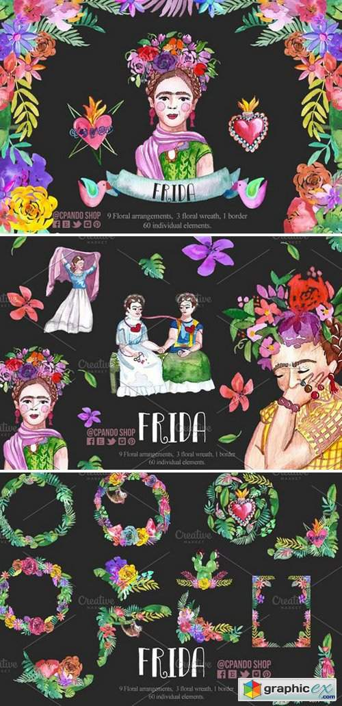 Frida Kahlo Watercolor Clip Art » Free Download Vector
