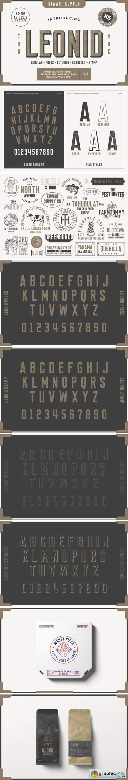Download Leonid Retro Layered Font Pack » Free Download Vector ...