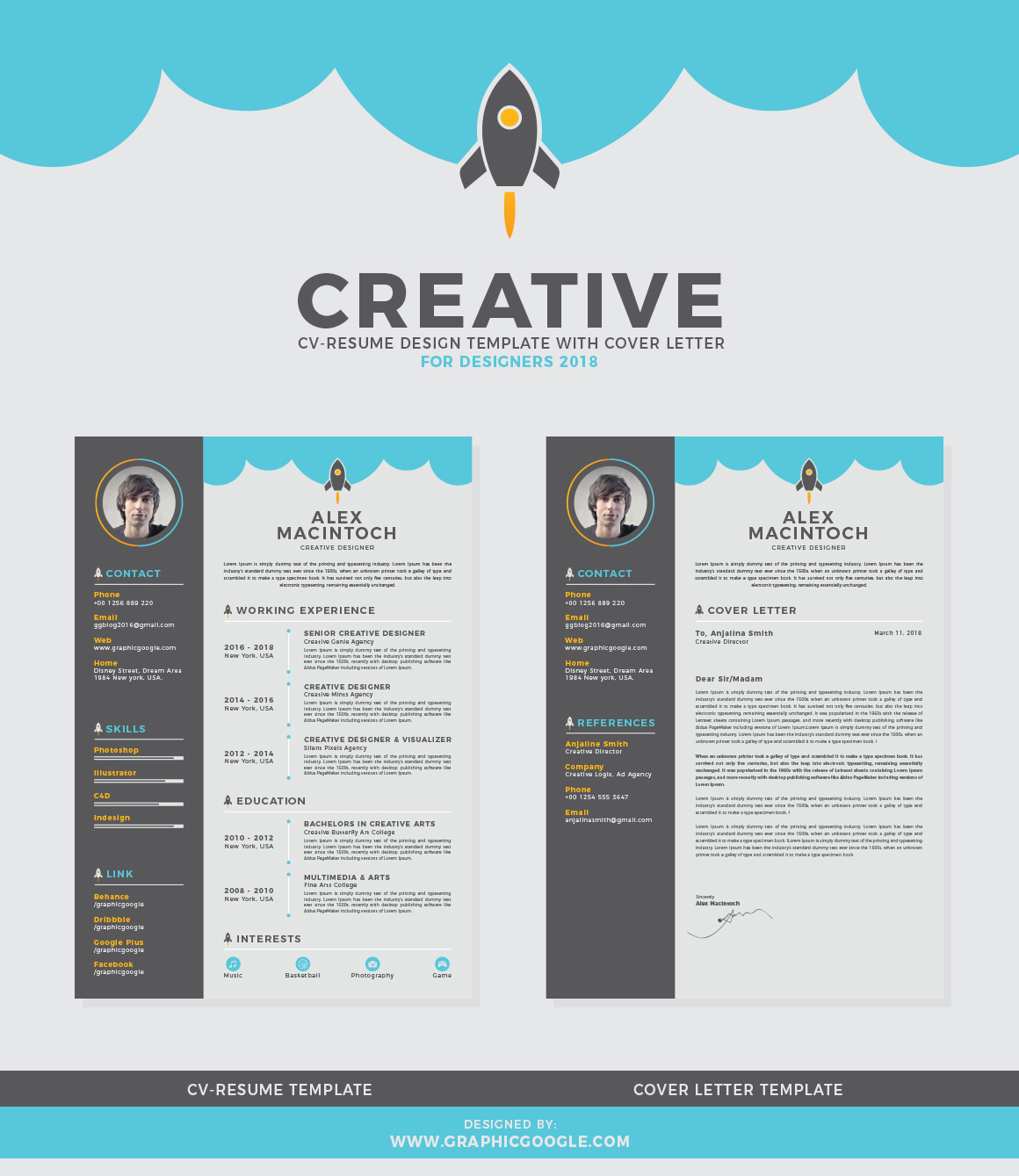 Free Creative CVResume Design Template With Cover Letter