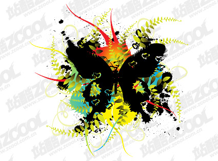 Butterfly Ink Blot Flowers Vector Graphic Graphic Hive