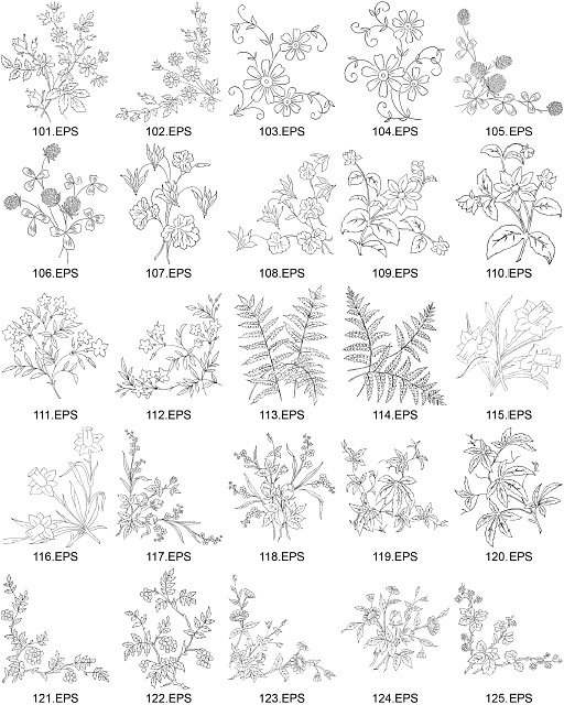 Flower Type Of Line Drawing Vector Diagram-5| Graphic Hive