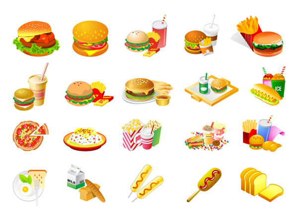 Western-style fast-food Vector material