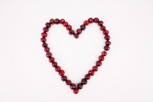 Heart made with cherries stock photo