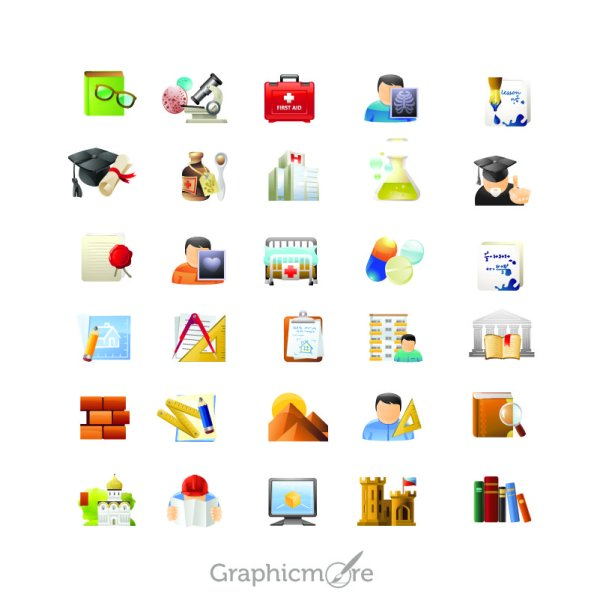 Education & Science Icons Design Free Vector File