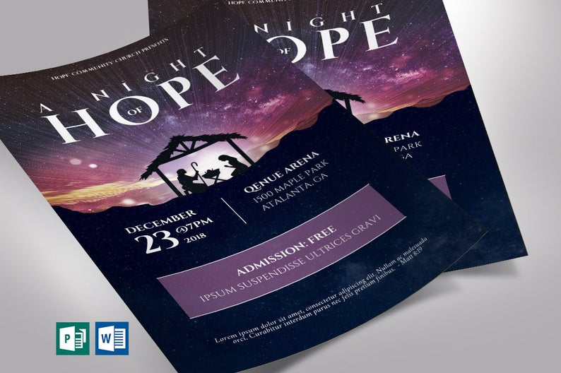 Hope Christmas Flyer Word Publisher Template Church Flyers
