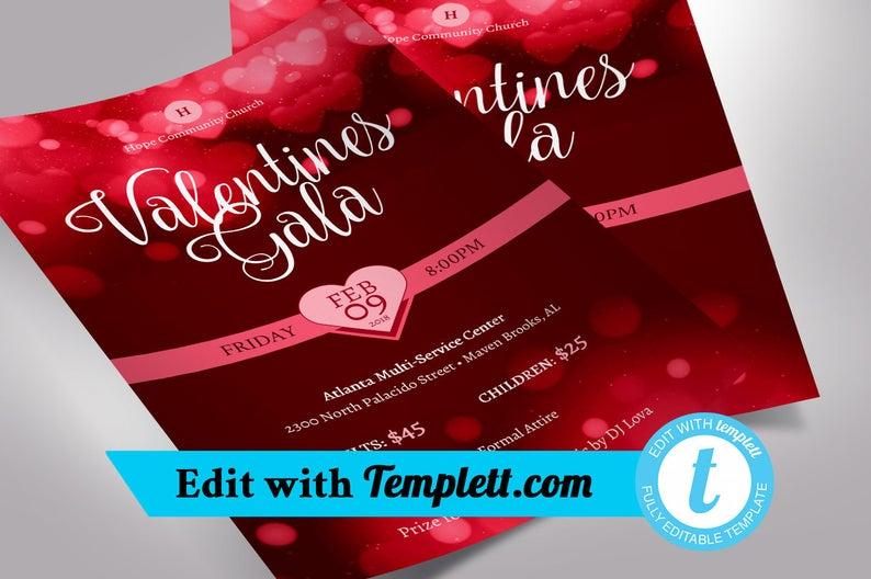 Valentines Gala Flyer Templett Church flyers