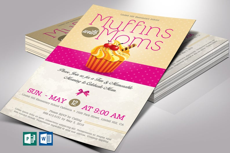 Muffins with Moms Flyer Word Publisher Template Church flyers