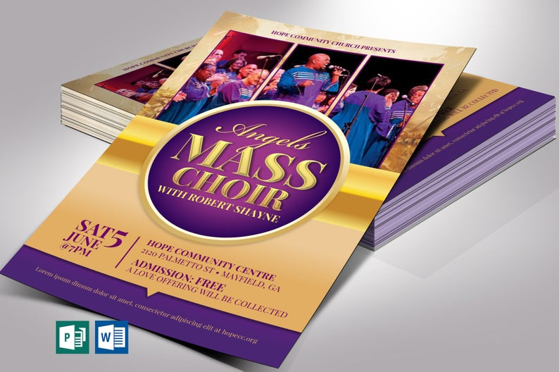 Mass Choir Concert Flyer Word Publisher