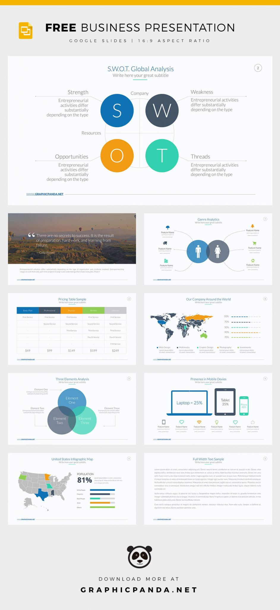 Free Business Google Slides Template Fully Customizable - Google business plan template