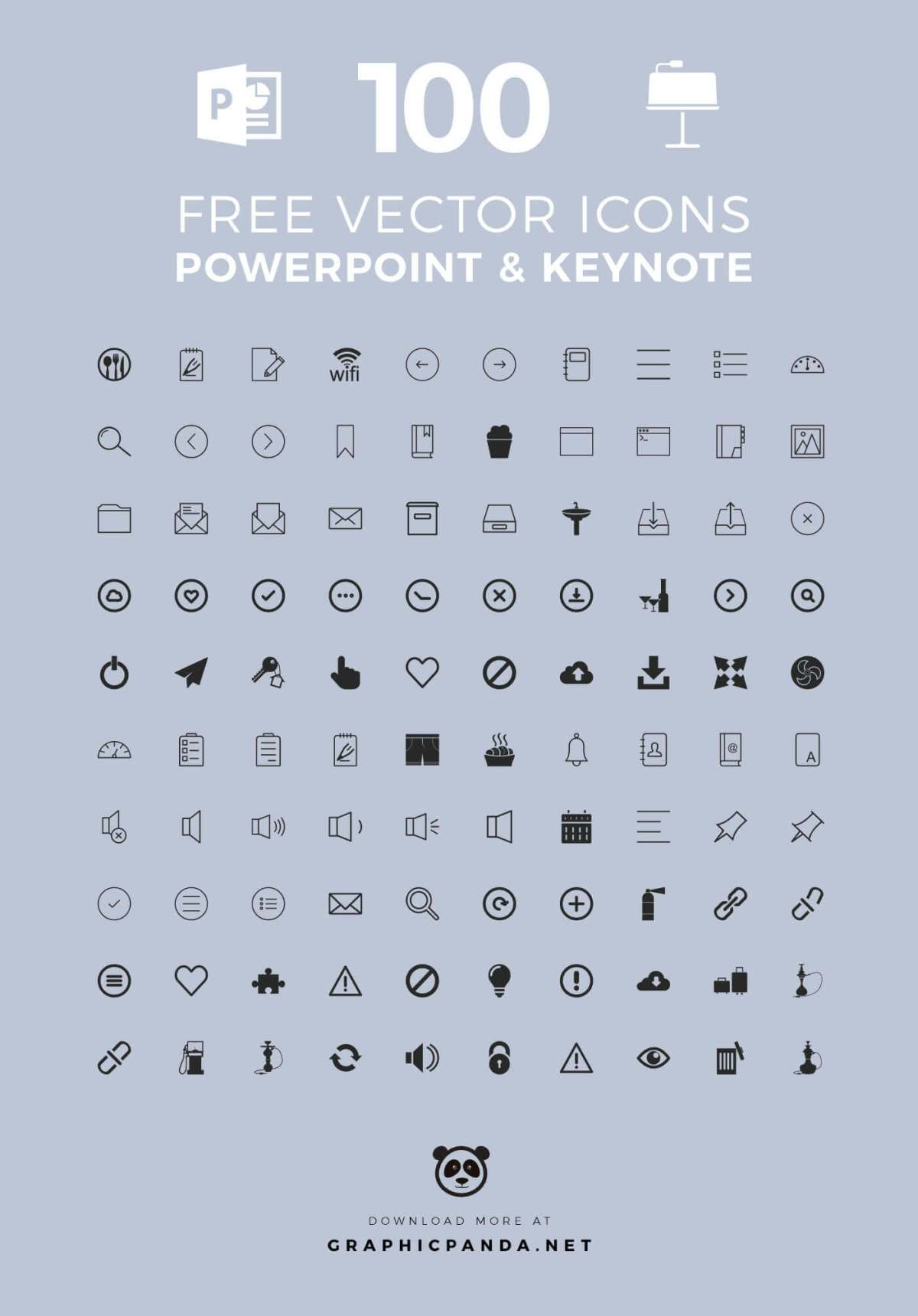 100 Free Universal Icons for PowerPoint and Apple Keynote