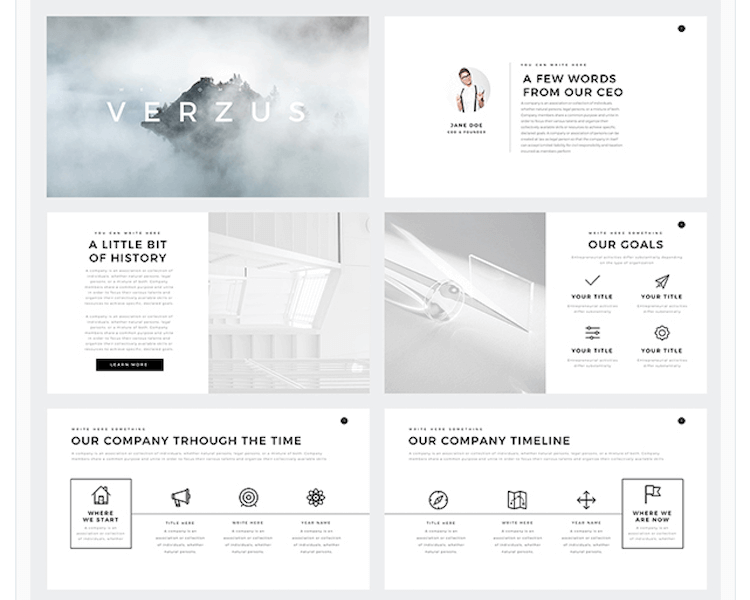 best free google slides themes - Verzus Minimal PowerPoint Template -min