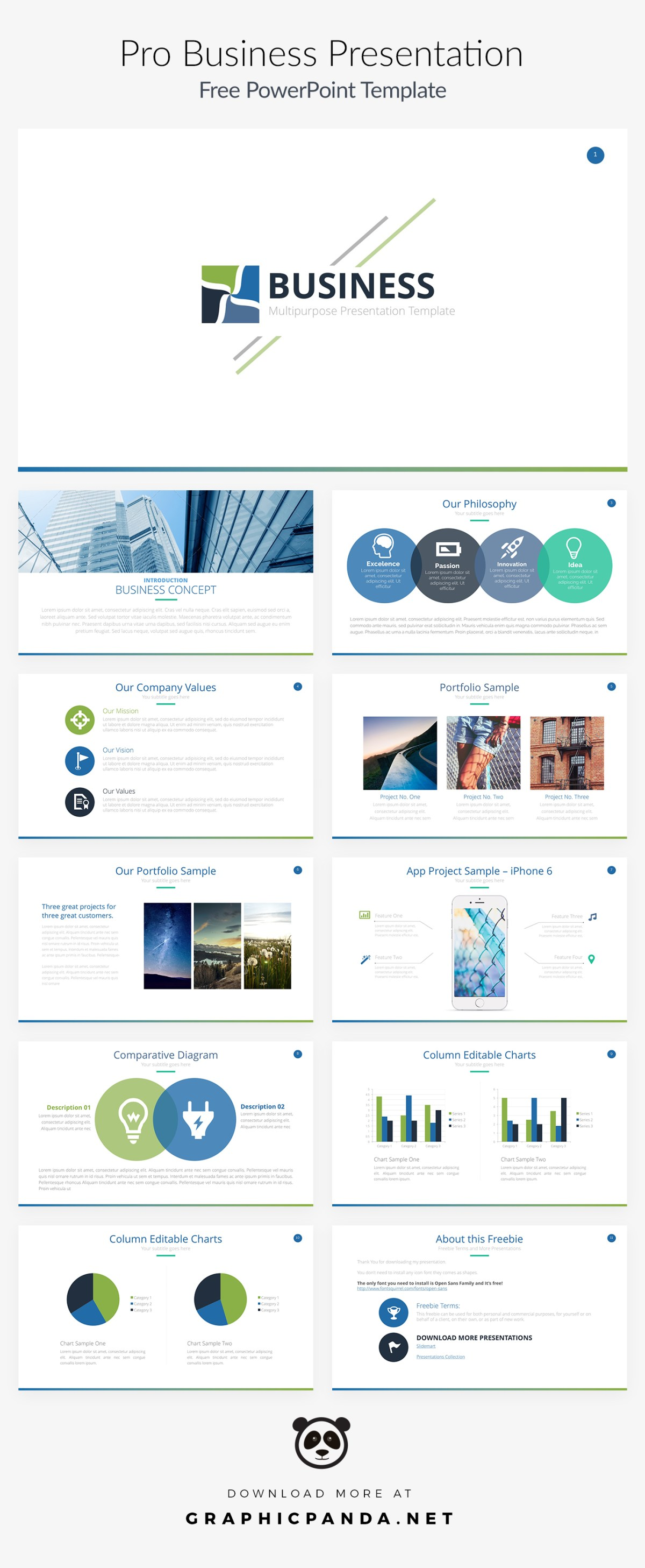 free business powerpoint template ppt, pptx download, Modern powerpoint