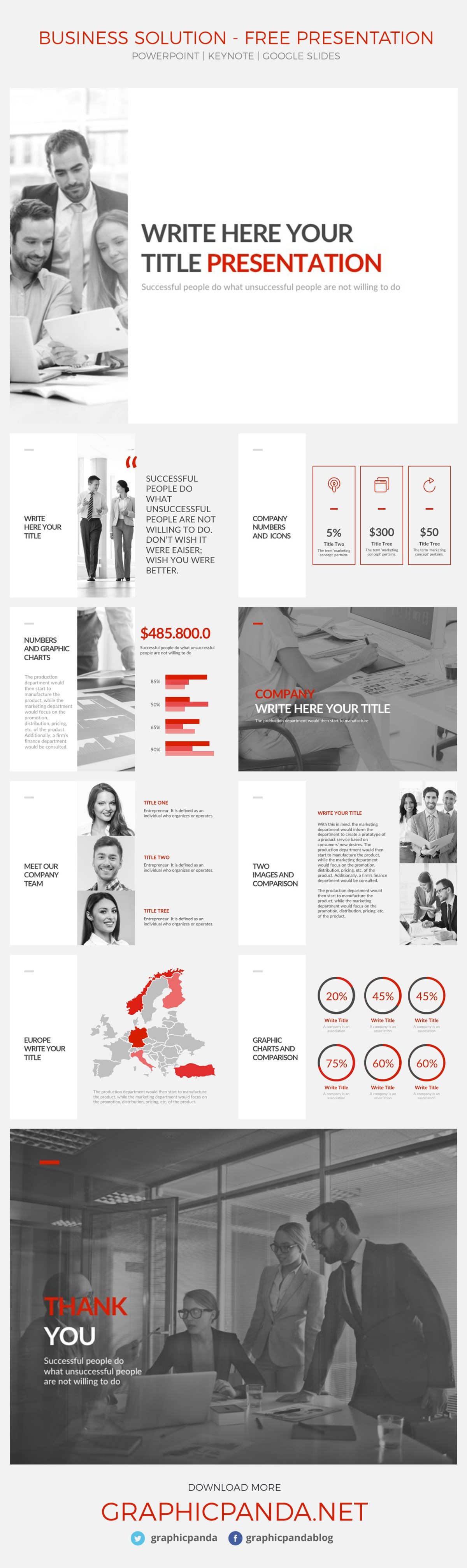 This Business Solutions free Powerpoint template, Keynote Template, and Google Slides themes give you a professional finish to your presentation while keeping it sleek and modern. A highly desirable piece of kit, this formal presentation template gives you flexibility over the text and information without detracting from the incredible overall design. Add your information, customize the slides, replace the pictures, use different icons, edit the charts and present your data or company profile like never before with this well-designed set of slides for powerpoint, Apple keynote and google slides.