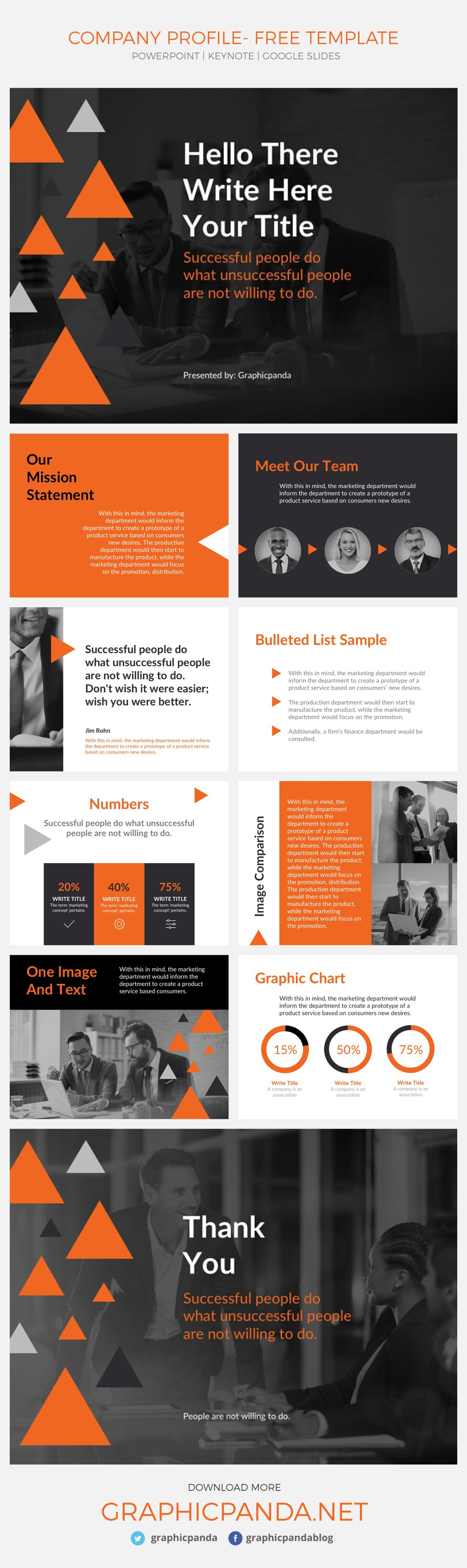 Create a professional presentation in no time with this free Company Profile Google Slides Theme. This simple to use and free presentation template comes also in two extra formats, Microsoft PowerPoint and Apple Keynote. That means that whether you like to work in Office, Mac or in the cloud, this business slides template will help you build an incredible pitch deck to present your company profile. This set of layouts is multipurpose, that means that you will be able to adjust the theme of the slide to whichever is your company. Also, no matter the size of the company you are representing with this free presentation template Company Profile Google Slides Theme and PowerPoint and Keynote, you will be able to introduce your small business or fortune 500 with confidence and professionalism.