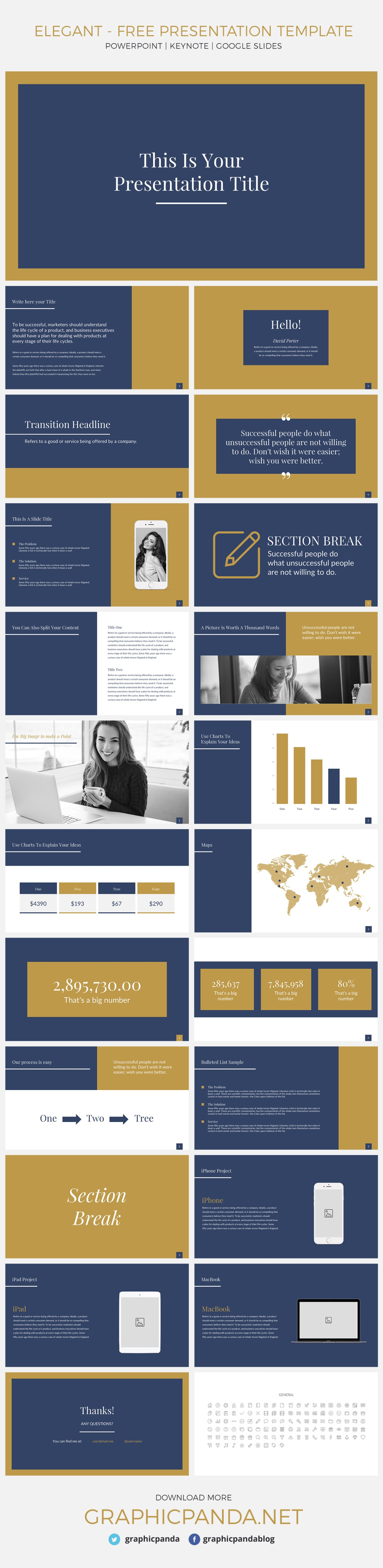 This free Elegant presentation template for Microsoft powerpoint and google slides and Apple keynote is a super classy pitch deck template that presents you with a refreshing color scheme that isn't boring but keeps you looking professional. Each slide has a burst of color that makes your data pop out but not distract your audience from your overall point. I have handpicked the top 3 slides that I believe are super modern and helpful.