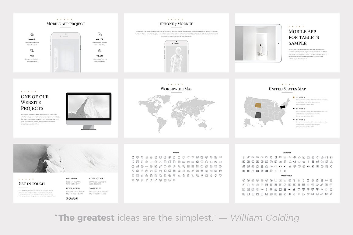 Spark Minimal Templates - PowerPoint Templates - Keynote Themes - Google Slides.psd