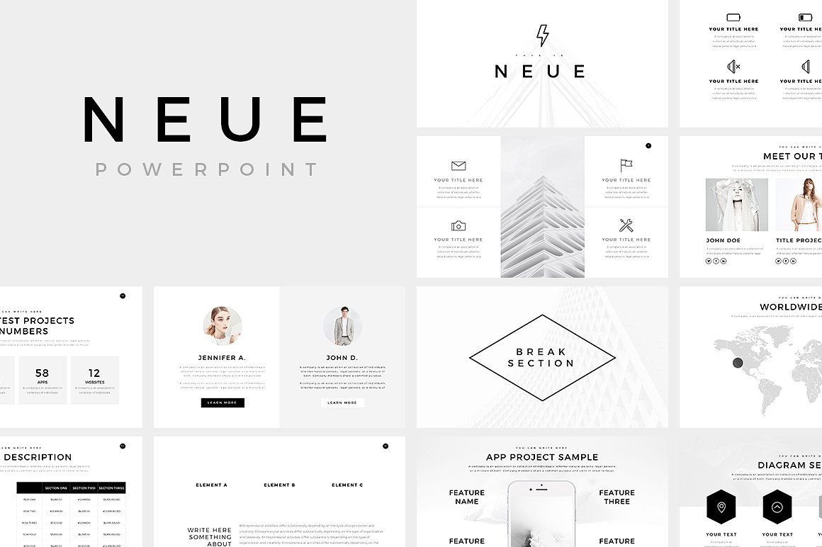 Neue minimal powerpoint template for Table design google slides