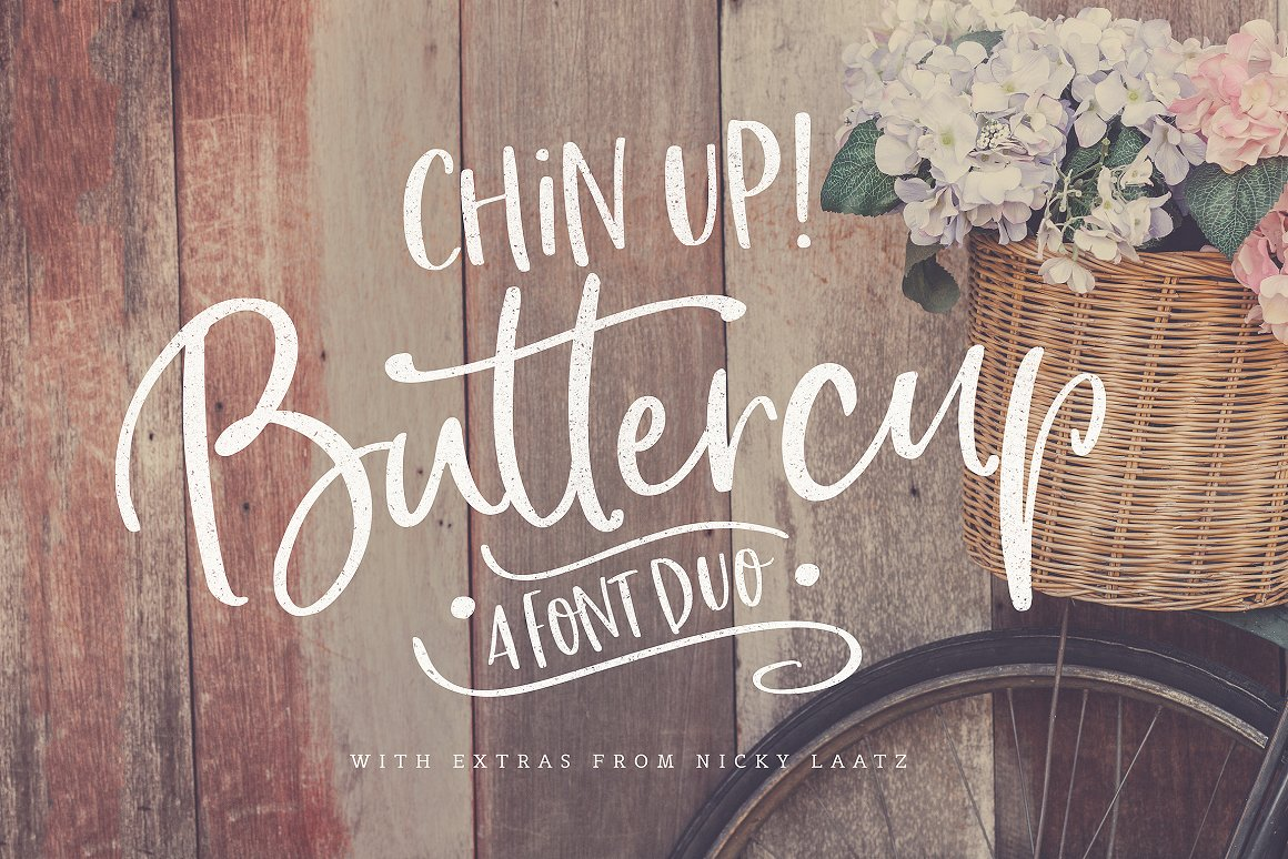 Chin Up Buttercup! Font Duo & Extras