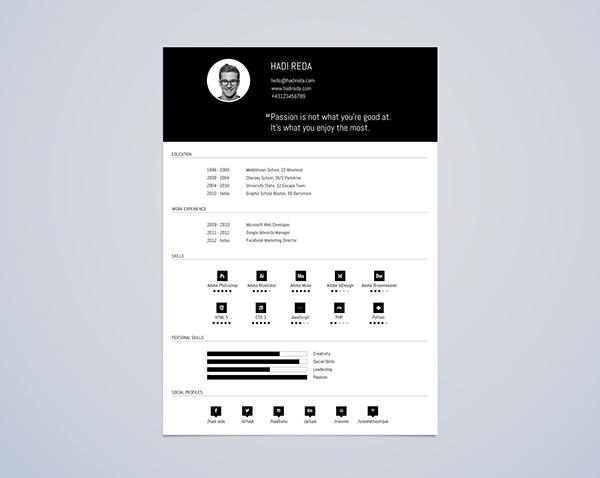 CV Resume Template Din A4 Free PSD