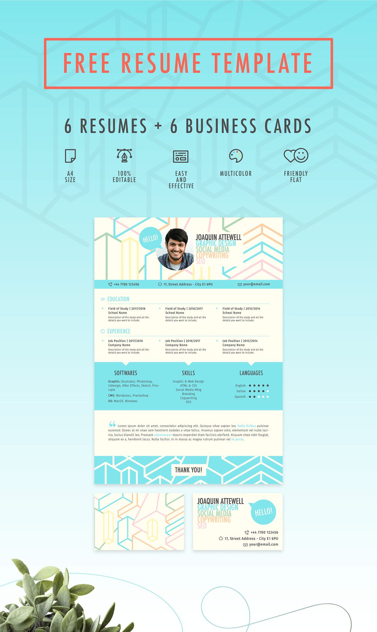 Colorful Free Resume Template 2017