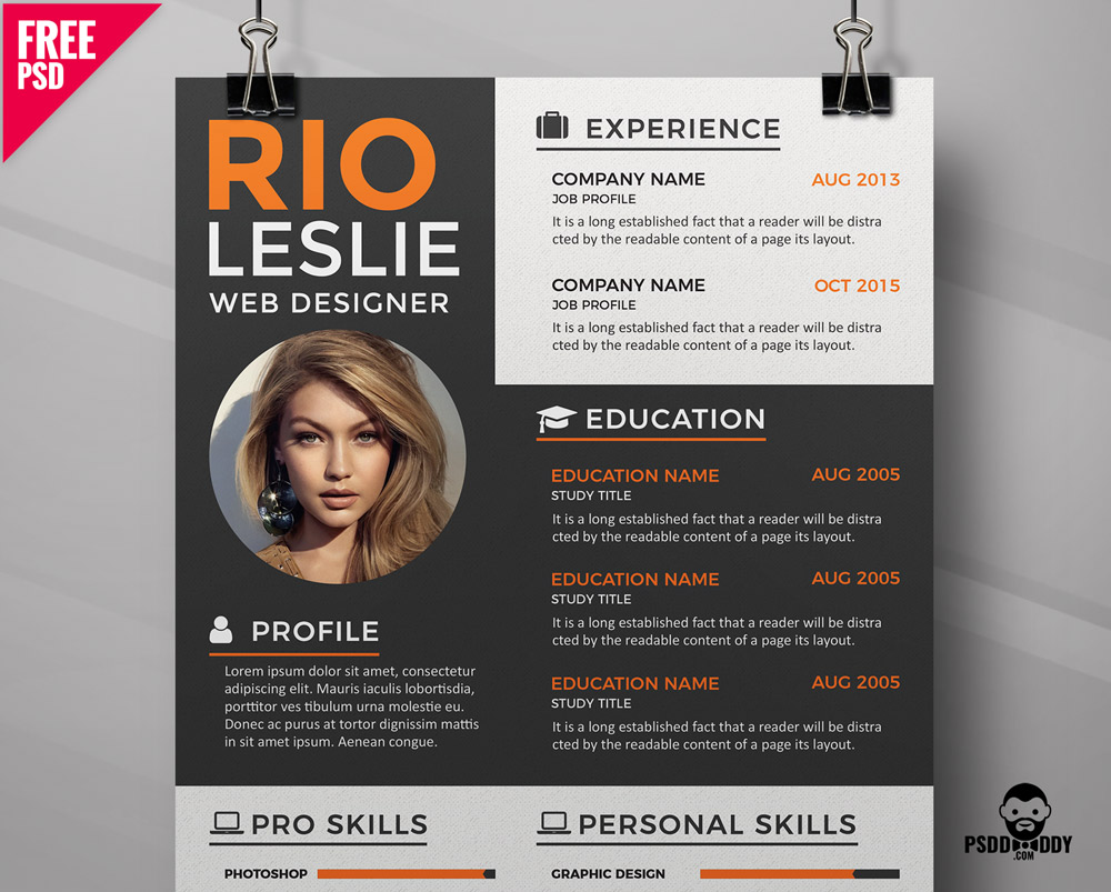 Creative Resume CV Template PSD