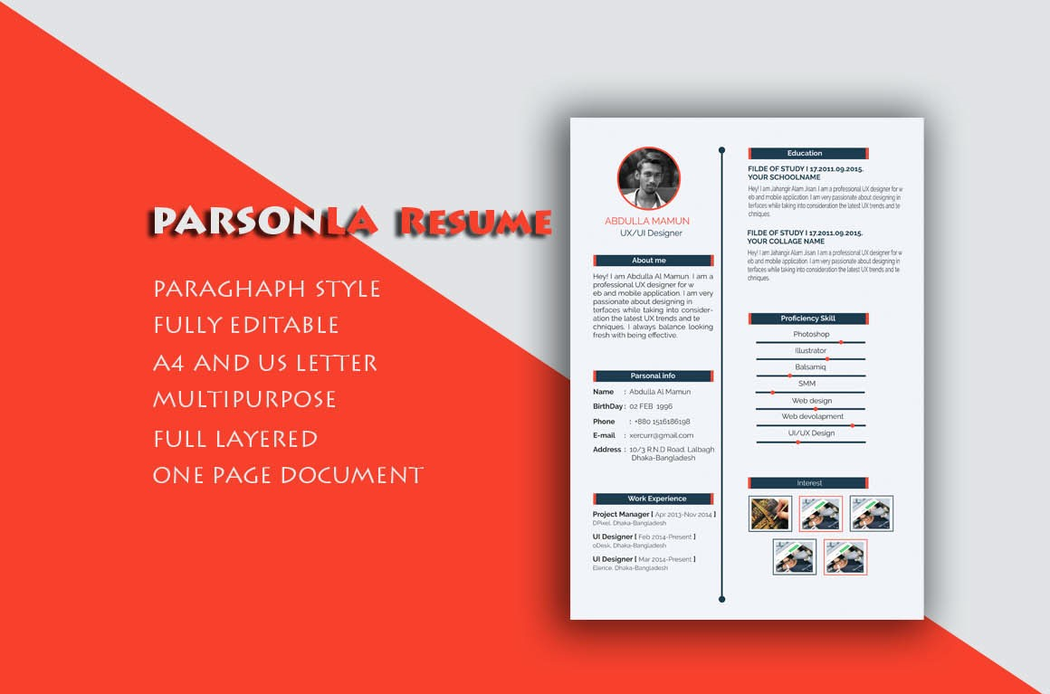 Free Resume CV Template PSD