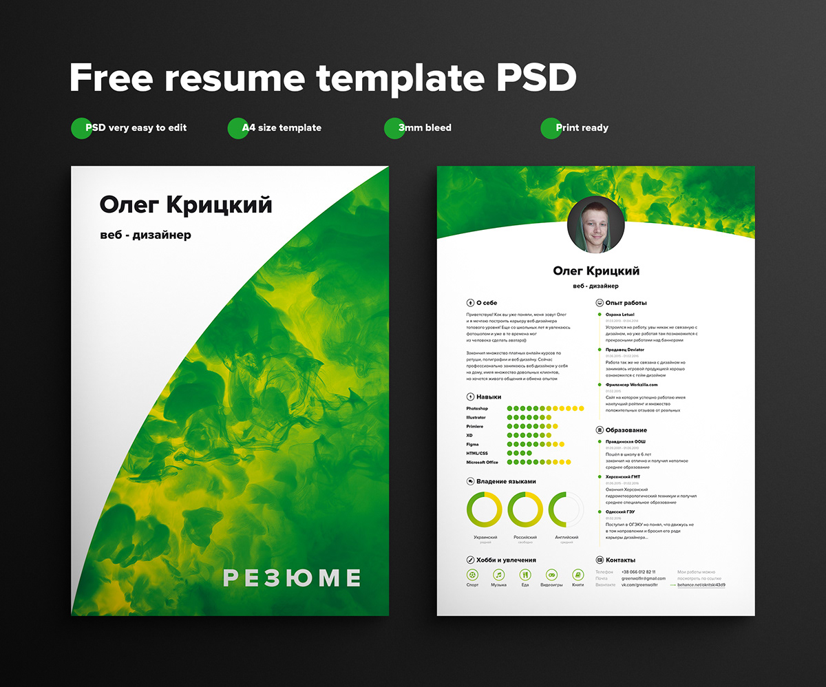 Resume Psd Template 75 Best Free Resume Templates Of 2018