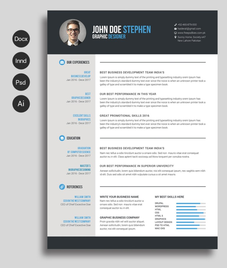 free ms word resume and cv template